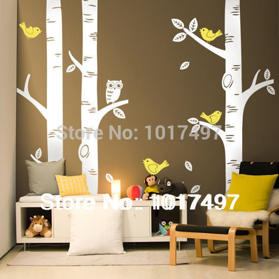 Free shipping oversized birch tree wall decals for nursery for Baby nursery tree mural