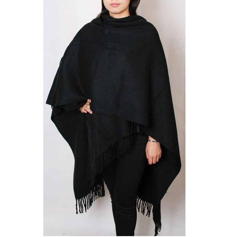 0ec00ed3b925 Livraison Gratuite Noir Hiver Chinois Femmes de 100% Laine Châle Écharpe  Épaisse Chaud Wrap WS012-B