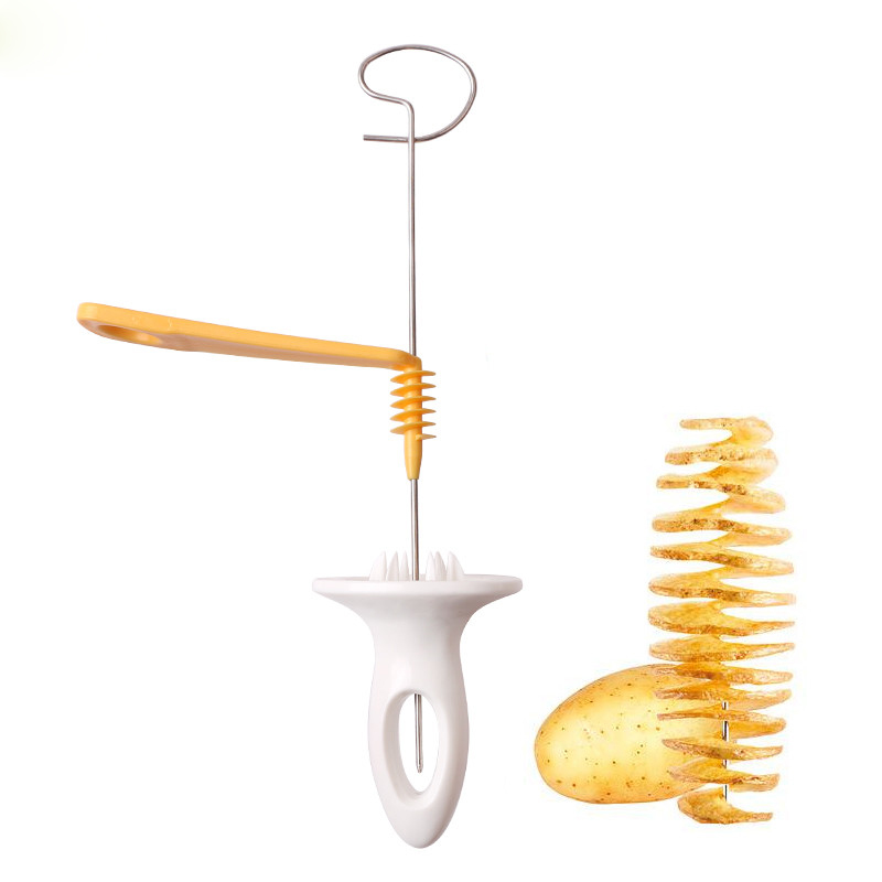 1 Set Stainless Steel Tornado Potato Spiral Cutter Slicer Shredder Manual Kitchen Gadget String Rotate Potato Chips Tower Slicer