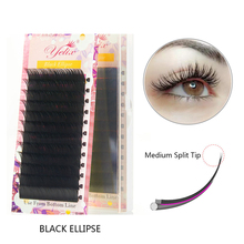 Yelix False Mink Eyelashes Flat Lashes Individual Eyelash Extension soft Eyelash Extensions Ellipse Natural Short Split-tips