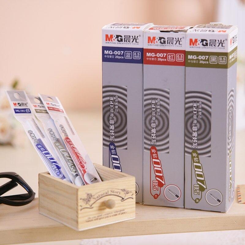 20pcs/lot 0.5MM Refill 100% M&G Gel Pen Refill  High-quality NIB Top Ink Writing Smooth School & Offic Stationery Free Shipping