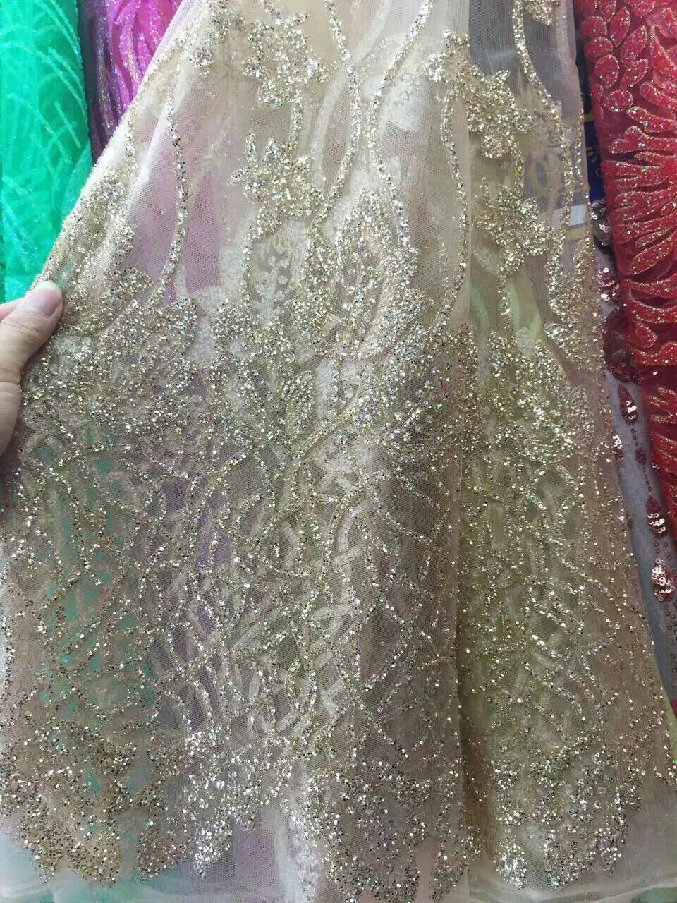 5yards Silver Gold hand print glitter african india tulle mesh fabric for wedding  dress evening fc436f1f1caa