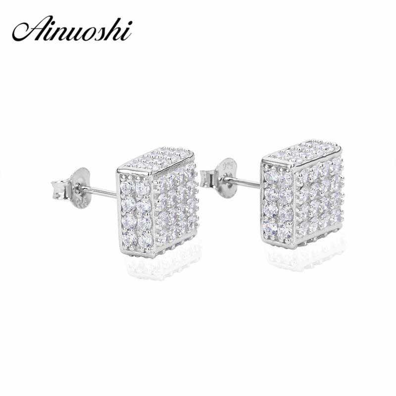 AINUOSHI Sang Trọng 925 Sterling Silver Stud Earrings đối với Phụ Nữ Quảng Engagement Bạc Bông Tai pendientes plata de ley 925 mujer