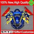 7giftsBlue red  For SUZUKI GSX-R1000 00 01 02 GSXR1000 00-02 86MC23 K2 Blue yellow GSXR 1000 GSX R1000 2000 2001 2002 Fairing