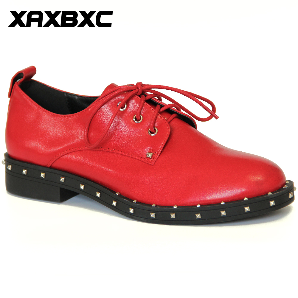 XAXBXC 2018 Spring Autumn Leather Oxfords Platform Low Heels Women Pumps Lace Up  Rivet Round Toe Casual Ladies Mujer Shoes