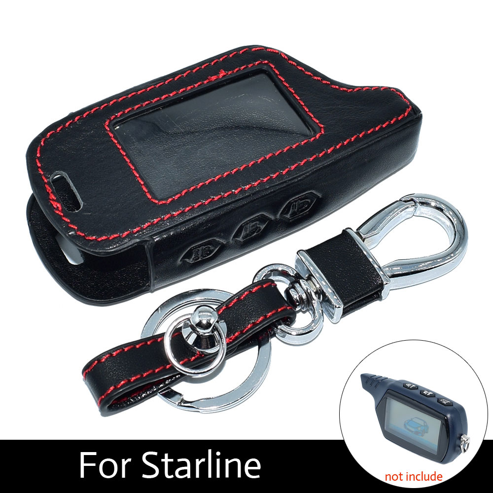 ATOBABI B9 Genuine Leather Key Case Cover with Keychain for Starline B9 A61 V7 Two Way Car Alarm LCD Remote Control Transmitter atobabi a91 hand sewn genuine leather key case cover with keychain for starline a91 car alarm remote control a61 lcd transmitter