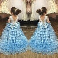 Glitter açık Mavi kollu uzun tren ile Katmanlı balo küçük prenses elbiseler kızlar dans için kıyafet Akşam balo parti