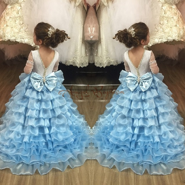 Glitter light Blue Tiered ball gown little princess dresses with sleeves long train girls dancing outfit for Evening prom partyGlitter light Blue Tiered ball gown little princess dresses with sleeves long train girls dancing outfit for Evening prom party