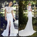 Riki Dalal Summer Chiffon Wedding Dresses Mermaid High Neck Lace Bodice Two Piece White Front Slit Bridal Gown ZY3247