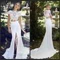 Riki Dalal Verão Chiffon Vestidos de Casamento Da Sereia Alta Neck Lace Corpete Duas Peças Branco Frente Slit vestido de Noiva ZY3247