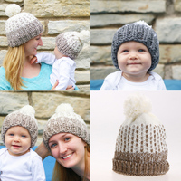 2Pcs Set Mom And Me Matching Knitted Hats Warm Winter Kids Winter Knitted Hat Cap Mommy