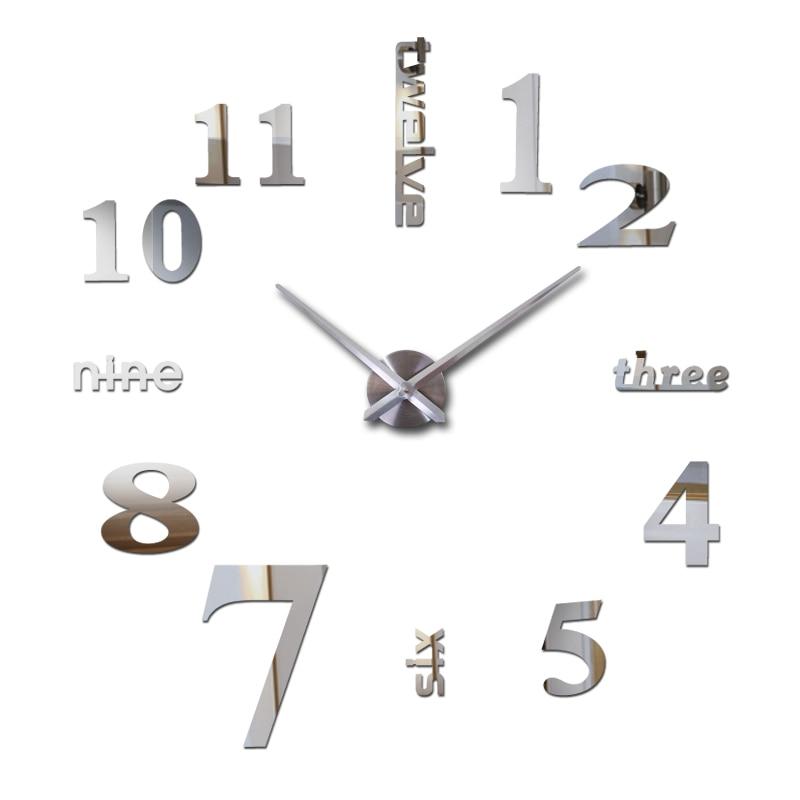 3d órák horloge karóra eladó új diy akril tükör fali matrica falióra Lakberendezés Quartz Modern nappali