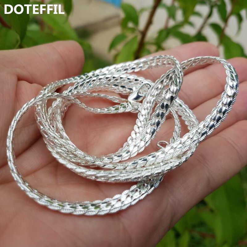 Hot sprzedaży 925 srebrny kolorowy naszyjnik urok kobiety mężczyzna 50cm srebrny 6MM w całości bokiem naszyjnik moda marka biżuteria