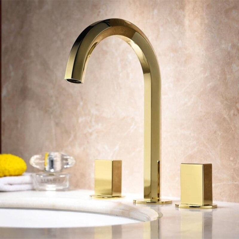 Роскошный Золотой смеситель для раковины в европейском стиле, кран для раковины с тремя отверстиями, современный дизайн, широко распространенный 8 ', смеситель для раковины с тремя отверстиями для ванной комнаты