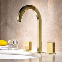 Luxury gold basin Faucet Europe style three holes sink faucet modern design widespread 8' three hole bathroom sink mixer