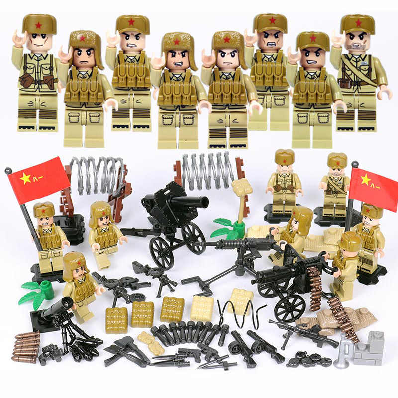 World war Korea Assembly military figures brickmania building block china army minifigs weapon artillery bricks toys for boys