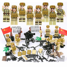 World war Korea Assembly military figures brickmania building block china army minifigs weapon artillery bricks toys for boys(China)