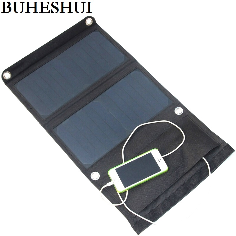 BHUESHUI 14W 5V Sunpower Folding Solar Panel Charger Portable Dual USB Solar Charger for Cellphone High Efficiency Free Shipping
