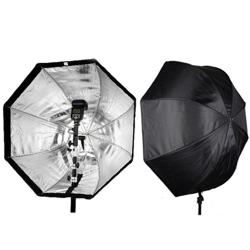 Octagon Umbrella Speedlite Softbox: Flash Bracket Hot Shoe Holder + Portable 80cm Octagon