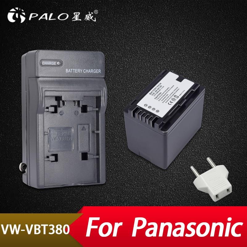 цена на Palo 1Pc 3900mAh VW-VBT380 VW-VBT190 Battery+Charger Plug for Panasonic HC-V720,HC-V727,HC-V730,HC-V750,HC-V757,HC-V760,HC-V770