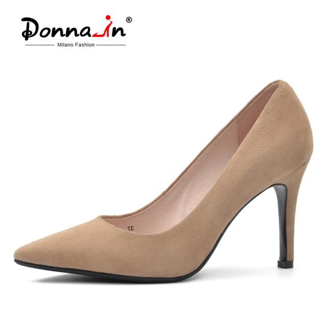 Donna-в Новинка 2017 года; стильное платье туфли-лодочки на высоком каблуке натуральный замша пикантные острый носок офисные туфли на высоком каблуке женщина Обувь
