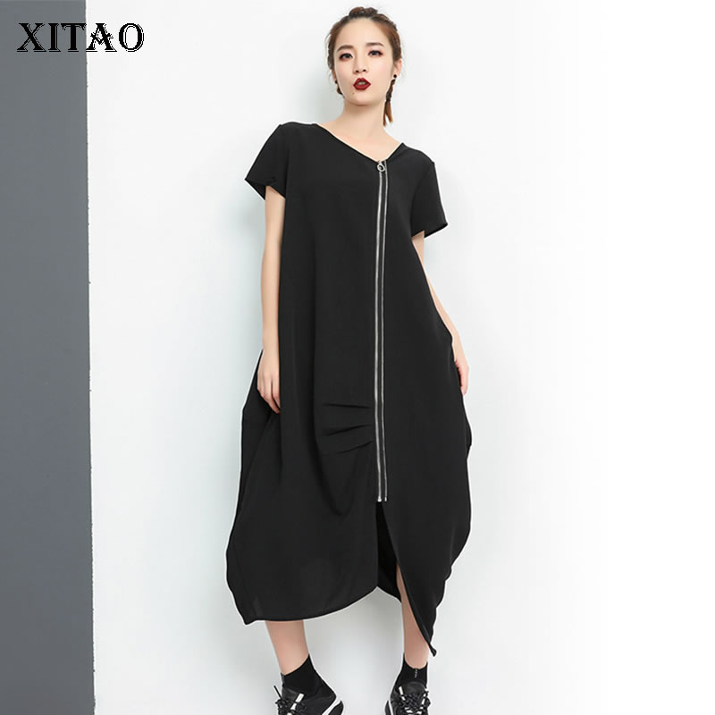 XITAO Irregular Plus Size Black Midi Dress Pullover Short Sleeve Personality Women Clothes 2019 New Loose Match All WBB3051