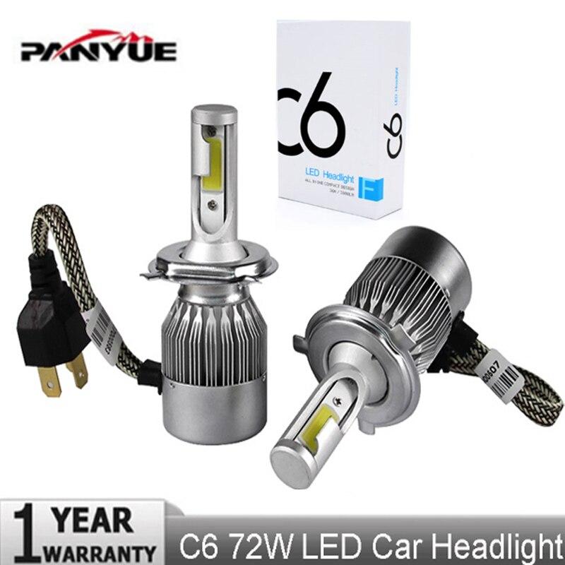 PANYUE Super bright Auto Car H8 H11 H7 H4 H1 LED Headlights 6000K Cool white 72W 7600LM COB Bulbs Diodes Automobiles Parts Lamp