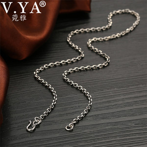 Image 2 - V.YA 2.8MM Solid 925 Sterling Silver Men Chain Long Necklace S925 Thai Silver Jewelry Male Necklaces 55cm 60cm 65cm 70cm