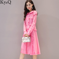 2017 New Pink Pleated Dresses Women Preppy Style Long Sleeve Turn Down Loose Casual Female Ladies