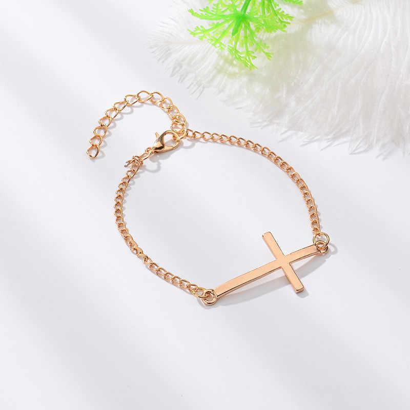 Ulubiona nowa moda krzyż kobiety mężczyźni miłośników bransoletka gorąca złoty/srebrny stop Charm bransoletka kobieta osobowość biżuteria