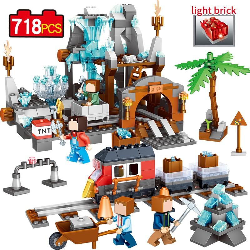 718pcs Qunlong Minecrafted Classic Tree House My world Compatible Legoed Figures Building Blocks Bricks Toys For Children my world tree house brick scene series steve mini blocks model building blocks kit toys for children compatible 21125