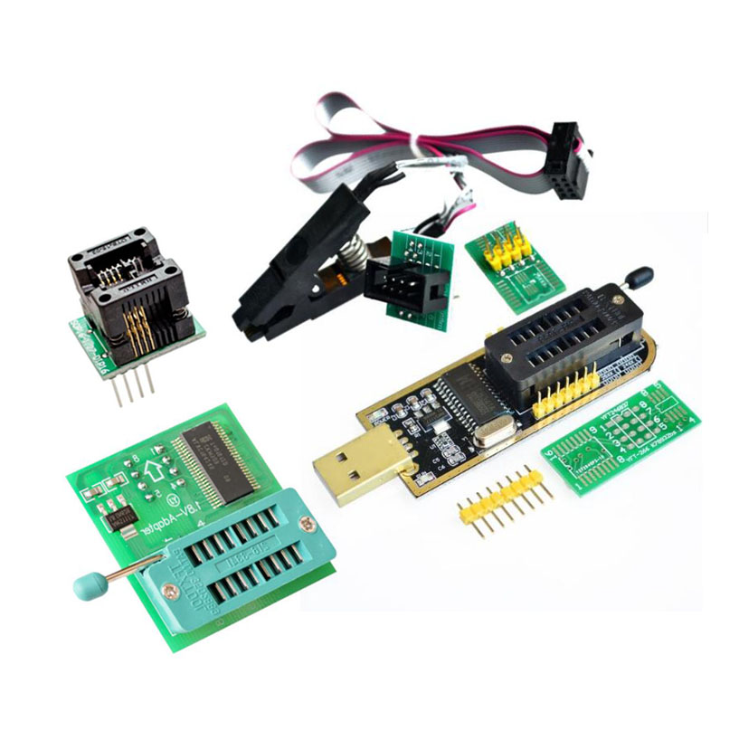 SOIC8 SOP8 Test Clip + 1.8V Dapter For Iphone + 150mil Socket Converter Module + CH341A 24 25 Series EEPROM Flash BIOS