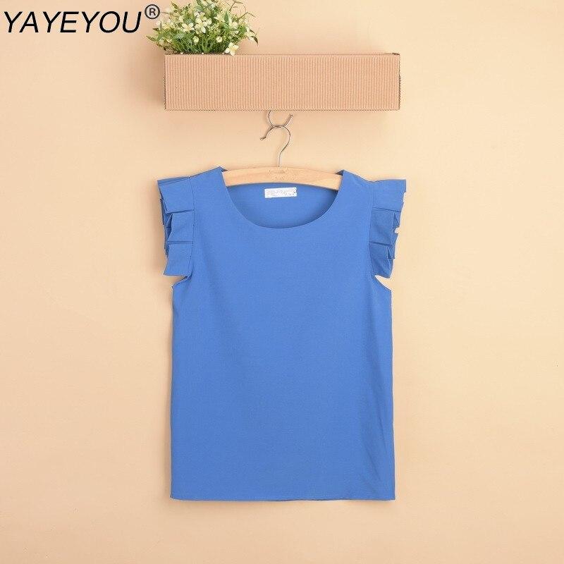 YAYEYOU S-XXL Summer  Shirt  Pure Color Butterfly Sleeve Blouse Shirts O-neck Fashion Elegant Leisure Chiffon Woman Tops