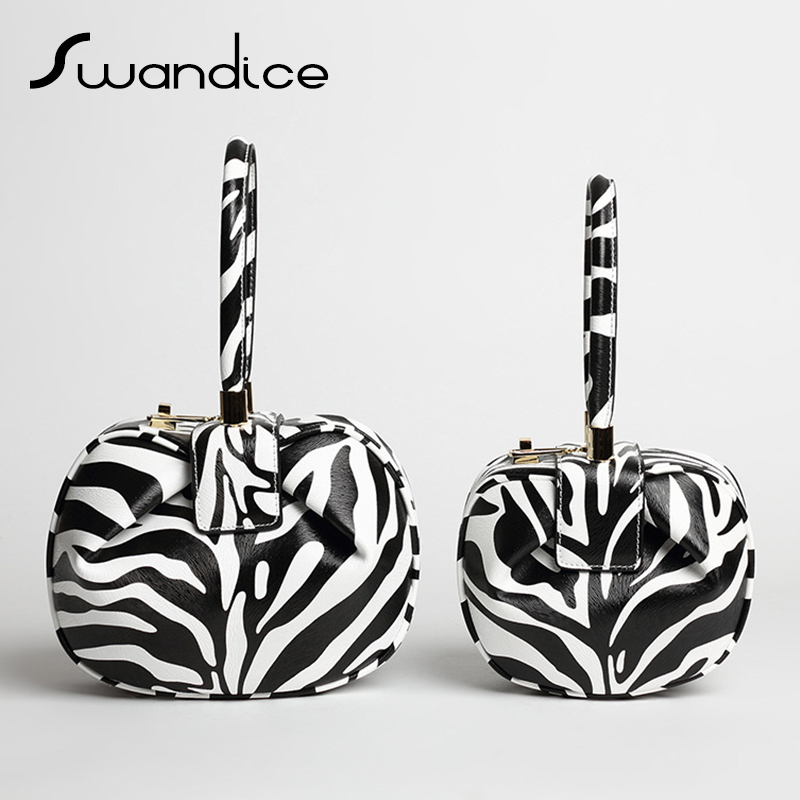 2019 Vintage Zebra Pillow Boston Box Barrel Handbags Genuine Leather Clutches Evening Wrist Bags Women Female
