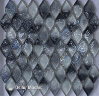 무료 배송 마름모 패턴 블랙 유리 크리스탈 모자이크