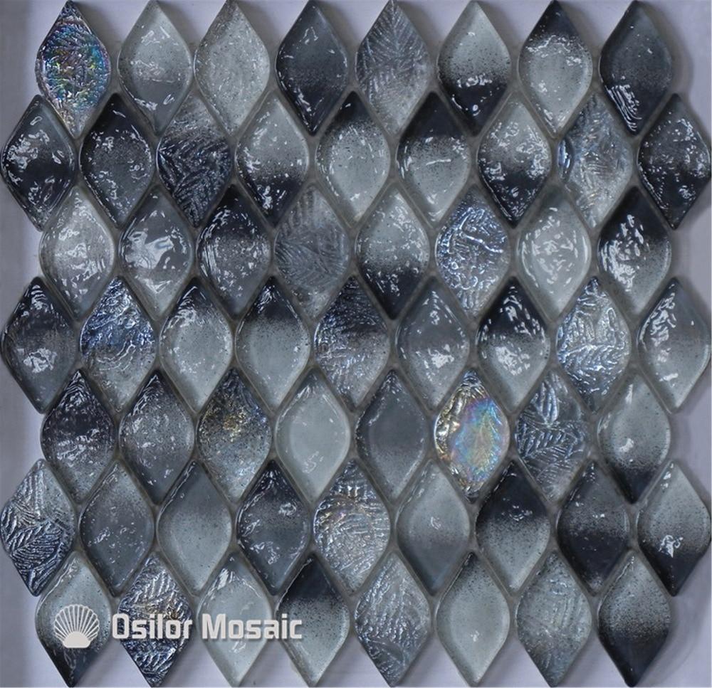 ФОТО Free shipping rhombus pattern black glass crystal mosaic tile for bathroom or living room wall tile