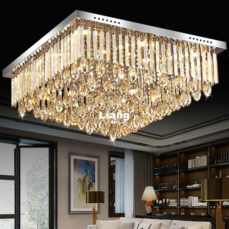 Newly Modern LED Crystal Ceiling Lamp Modern Champagne Color Crystal Chandelier Flush Mount Lighting for Office Home Decoration