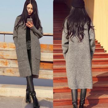 Для женщин кардиганы Костюмы Весна-осень-зима Однобортный кашемировые вязаные Длинные кардиганы свитера пальто плюс Размеры свободные