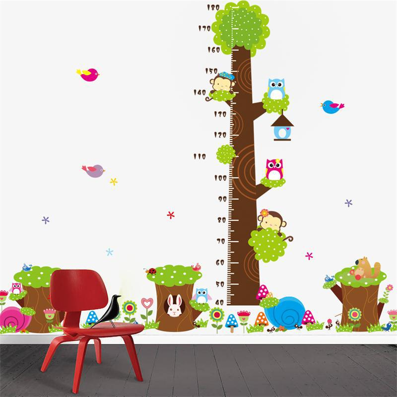 Cd003 cartoon jungle animals children height measure wall for Stickers pared bebe
