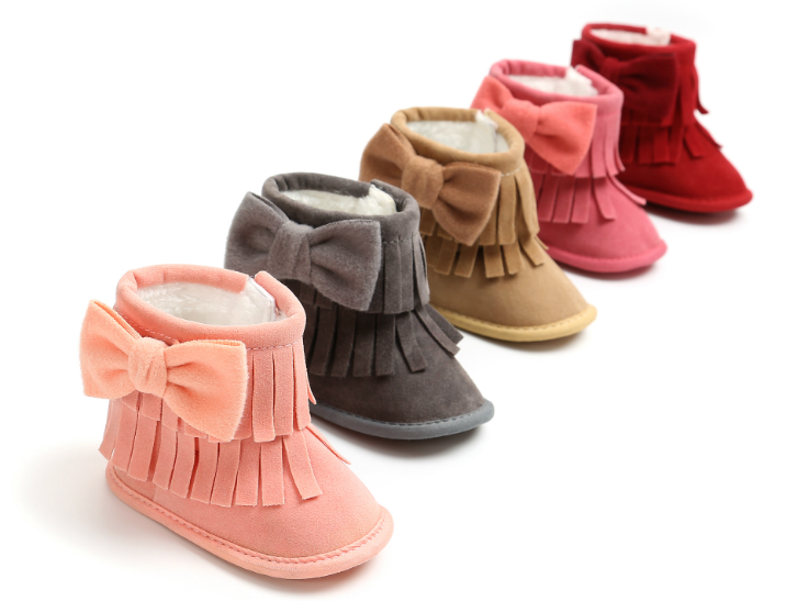 2018 Infant Baby Boot Indoor Keep Warm Baby Moccasins Cute Bow Baby Firstwalkers Fringe Baby Girl Shoes