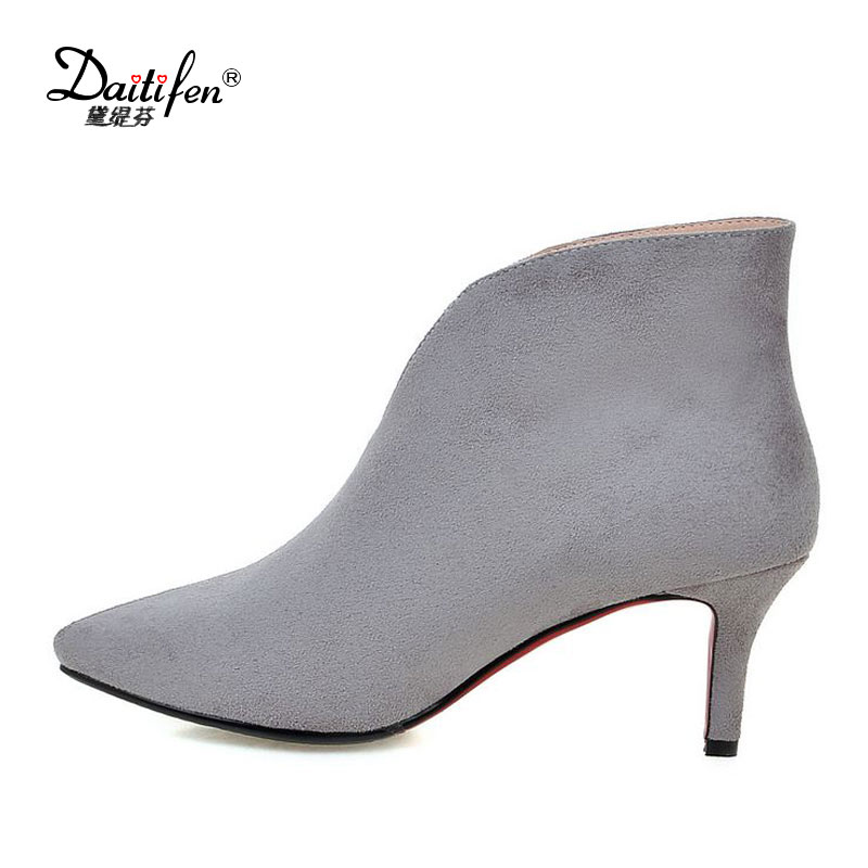 Daitifen 2017 Winter Faux Suede Women Ankle Boots Thin high Heel Casual Shoes Woman Gladiator Sexy Pointed toe Women Solid Shoes famiao women boots sexy high heel zapatos mujer tacon 2017 gary black buckle ankle boots for women shoes pointed toe winter