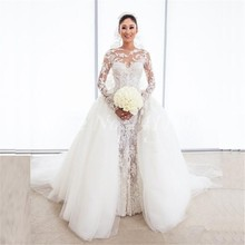 Luxury 2016 Sexy Long Sleeve Detachable Lace Mermaid Wedding Dress Bridal Gown vestido de noiva robe de marriage casamento