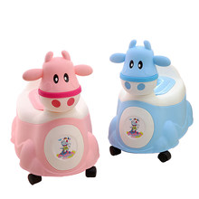 Baby Potty Cartoon Cute Cow Baby Toilet Seat Children's Potty Kids WC Portable Potty Chair Girls Boy Trainer Child Toilet Seat(China)