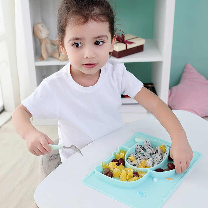 Baby Food GradeSilicone Dishes Sucker Design Cartoon Cow Whale Bowl Infant Learning Safe Creative Grid Feeding Tableware NBB0372