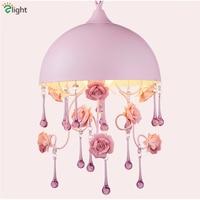 Dia30cm 40cm Pink Princess Round Iron Led Pendant Light Creative Pastoral Iron Rose And Crystal Pendant