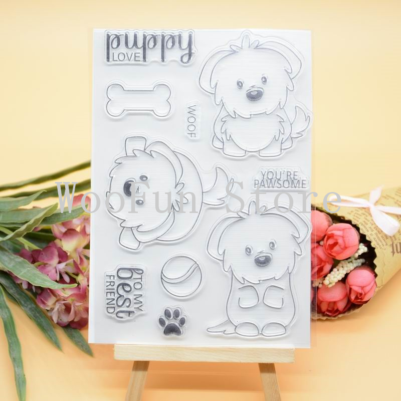 CS1119 Scrapbook DIY Photo Album Cards Transparent Acrylic Silicone Rubber Clear Stamps Sheet  11x16cm Lovely Puppy Dog wyf930 travel the world scrapbook diy photo album cards transparent acrylic silicone rubber clear stamps sheet 11x16cm