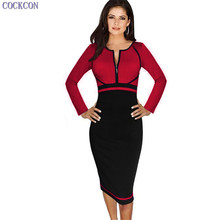COCKCON Womens Elegant Colorblock Front Zipper Full Sleeve Wear to Work Business Casual Office Party Sheath Pencil Bodycon Dress