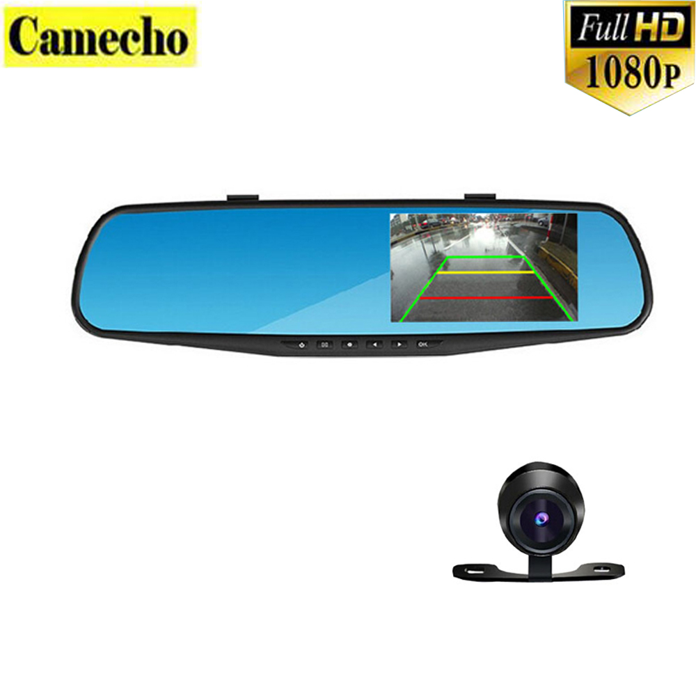 4.3 Inch Dual Lens Car DVR Rear View Camera Full HD 1080P