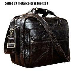 Высокое качество, мужской портфель из натуральной кожи в античном стиле, бизнес 15,6 дюймов, чехлы для ноутбуков, сумки-мессенджеры, портфель, ...