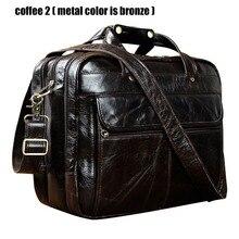 """En kaliteli erkekler gerçek deri antika tarzı evrak çantası İş 15.6 """"Laptop çantaları ataşe postacı çantası portföy B1001"""